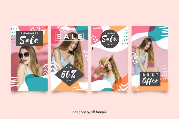 Histoires colorées d'instagram de vente abstraite avec la photo