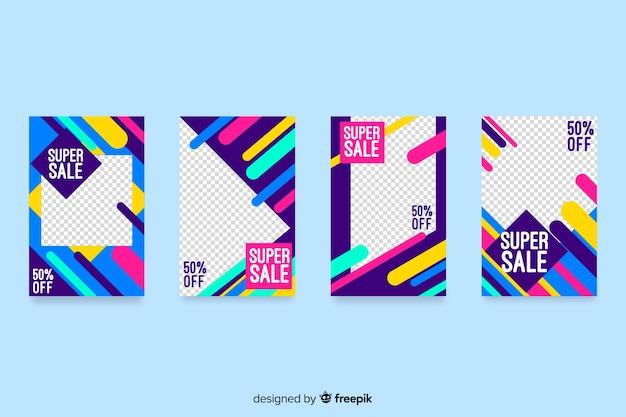 Histoires colorées d'instagram de vente abstraite