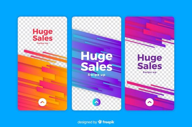 Histoires colorées d'instagram de vente abstraites