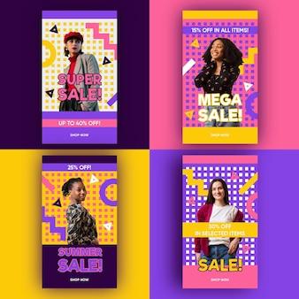 Histoires colorées de vente instagram