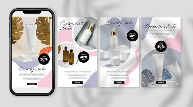 Histoires cosmétiques instagram avec de la crème en bouteille