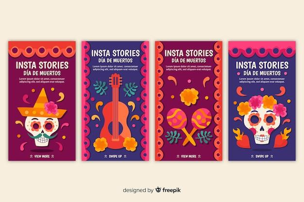 Histoires de día de muertos colorées pour les médias sociaux