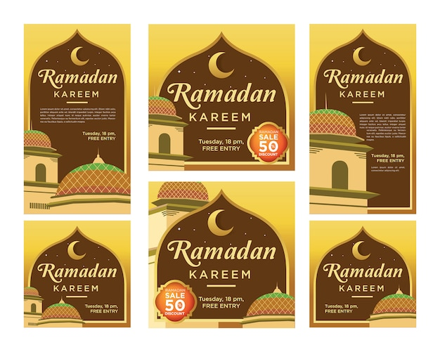 Histoires élégantes du ramadan kareem instagram et modèle de kit de publication de flux