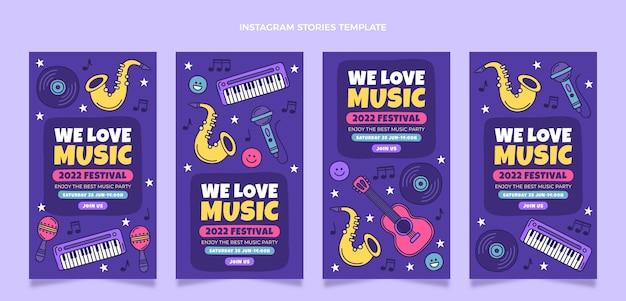Histoires de festival de musique colorées dessinées à la main