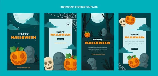 Histoires d'halloween au design plat