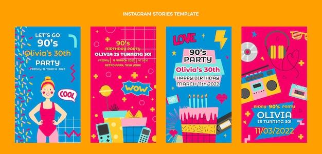 Histoires instagram d'anniversaire des années 90 dessinées à la main
