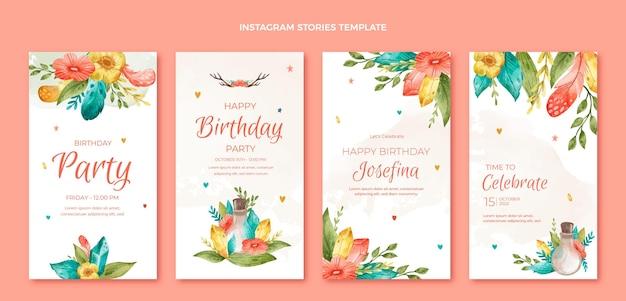 Histoires d'instagram d'anniversaire boho aquarelle