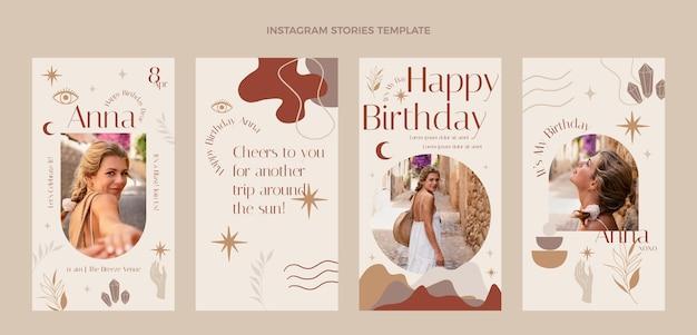 Histoires instagram d'anniversaire boho dessinées à la main