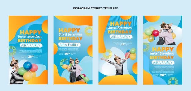 Histoires instagram d'anniversaire colorées dégradées