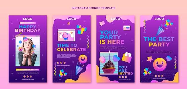 Histoires instagram d'anniversaire dégradé rétro vaporwave