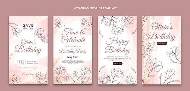 Histoires d'instagram d'anniversaire dessinées à la main à l'aquarelle