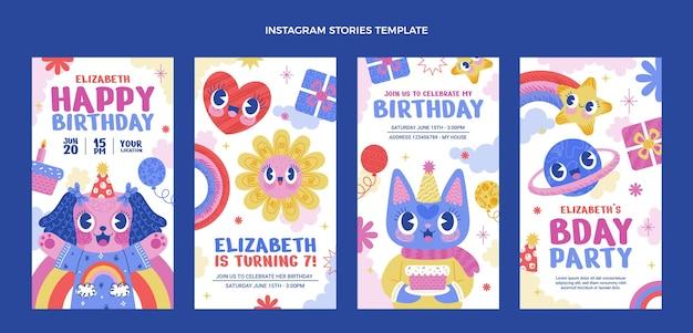 Histoires instagram d'anniversaire dessinées à la main