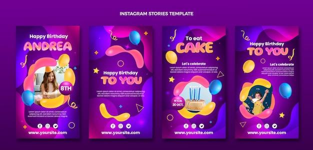 Histoires instagram d'anniversaire fluide abstrait dégradé