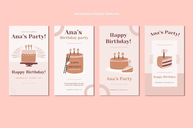 Histoires instagram d'anniversaire minimales au design plat