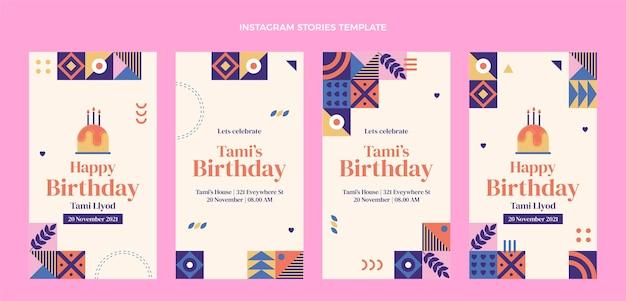 Histoires d'instagram d'anniversaire de mosaïque de conception plate