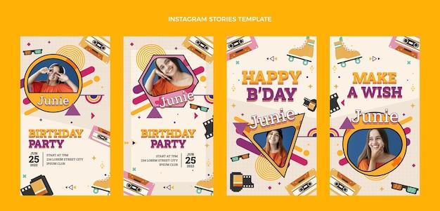 Histoires d'instagram d'anniversaire nostalgiques des années 90 au design plat