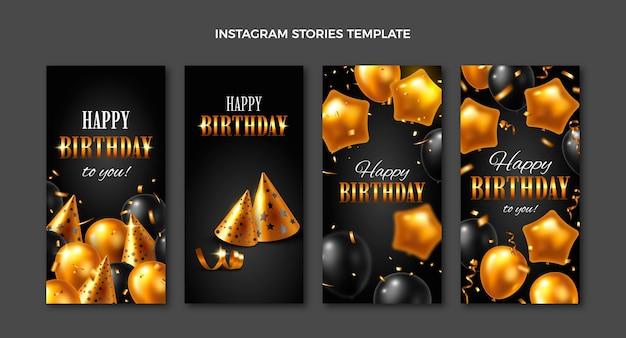 Histoires d'instagram d'anniversaire d'or de luxe réalistes
