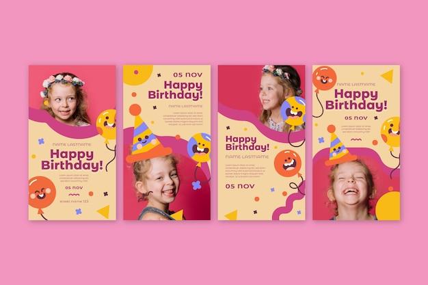 Histoires instagram d'anniversaire pour enfants