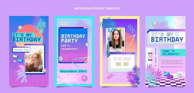 Histoires instagram d'anniversaire de vaporwave dégradé