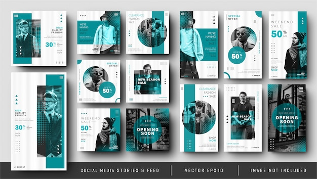 Histoires instagram bleu minimaliste et collection de modèles de bannière de publication de flux de médias sociaux