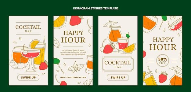 Histoires instagram de boissons dessinées à la main
