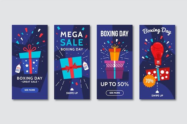 Histoires instagram de cadeaux emballés pour le jour de boxe