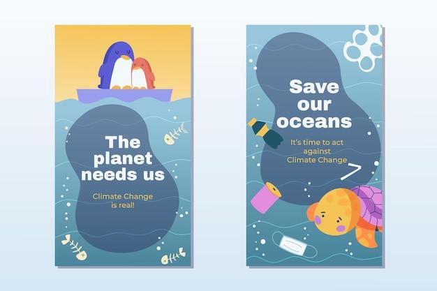 Histoires instagram sur le changement climatique dessinées à la main