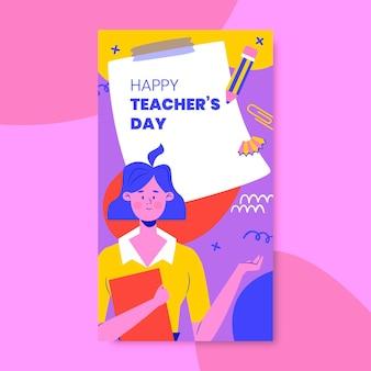 Histoires instagram colorées sur l'éducation de la journée des enseignants
