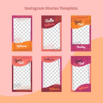 Histoires instagram conception de cadre style plat abstrait