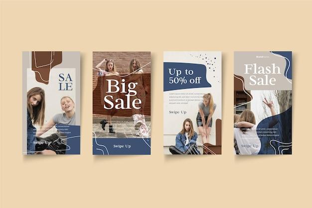 Histoires instagram de conception de vente biologique