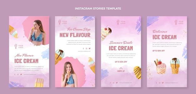 Histoires instagram de crème glacée à l'aquarelle