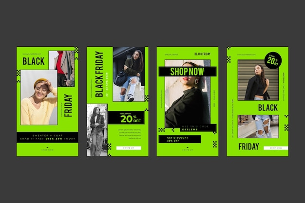 Histoires instagram de design plat promo vendredi noir vert vif