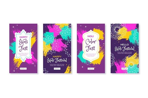Histoires instagram du festival holi dessinées à la main