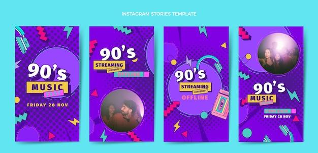 Histoires instagram du festival de musique des années 90 au design plat