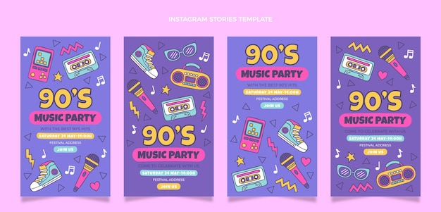 Histoires instagram du festival de musique des années 90 dessinées à la main