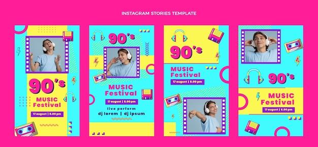 Histoires instagram du festival de musique des années 90