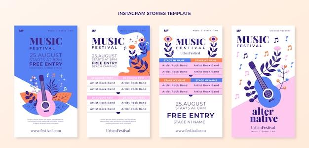 Histoires instagram du festival de musique colorées dessinées à la main