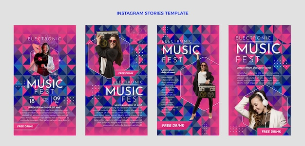 Histoires instagram du festival de musique dégradé