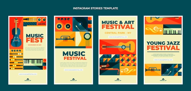 Histoires instagram du festival de musique en mosaïque design plat