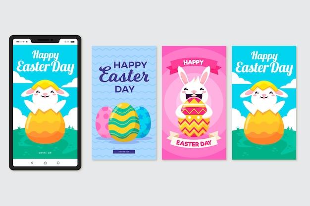 Histoires instagram du jour de pâques avec lapin et oeufs
