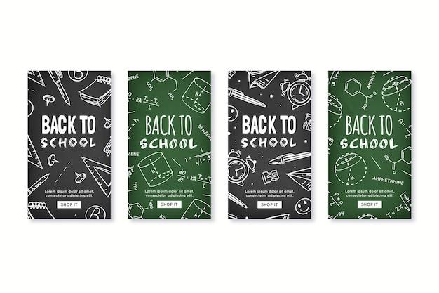Histoires instagram de l'école de style tableau noir
