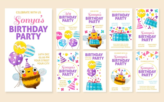 Histoires instagram de fête d'anniversaire