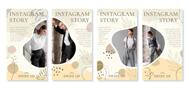Histoires instagram de formes abstraites plates dessinées à la main avec photo