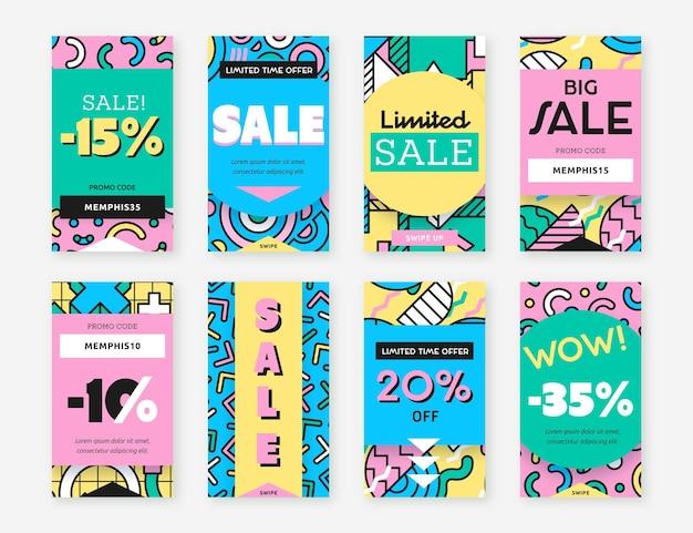 Histoires instagram de formes colorées
