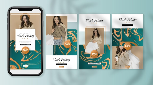Histoires Instagram Gradient Black Friday Vecteur Premium