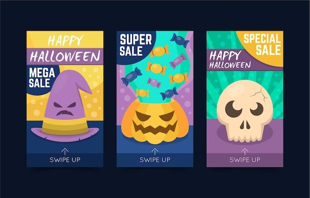 Histoires instagram d'halloween avec des crânes et des citrouilles