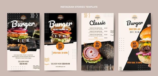 Histoires instagram de hamburgers plats