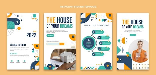 Histoires instagram de l'immobilier design plat