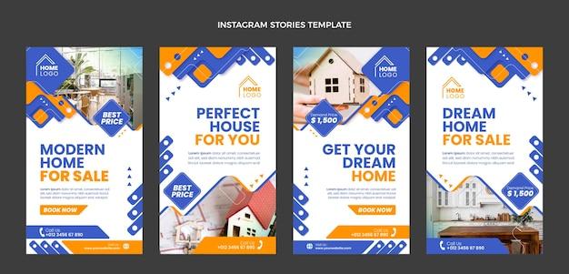 Histoires instagram de l'immobilier géométrique de conception plate