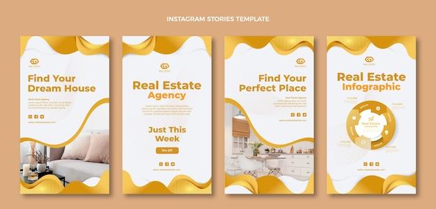 Histoires Instagram De L'immobilier à Texture Dégradée Vecteur gratuit